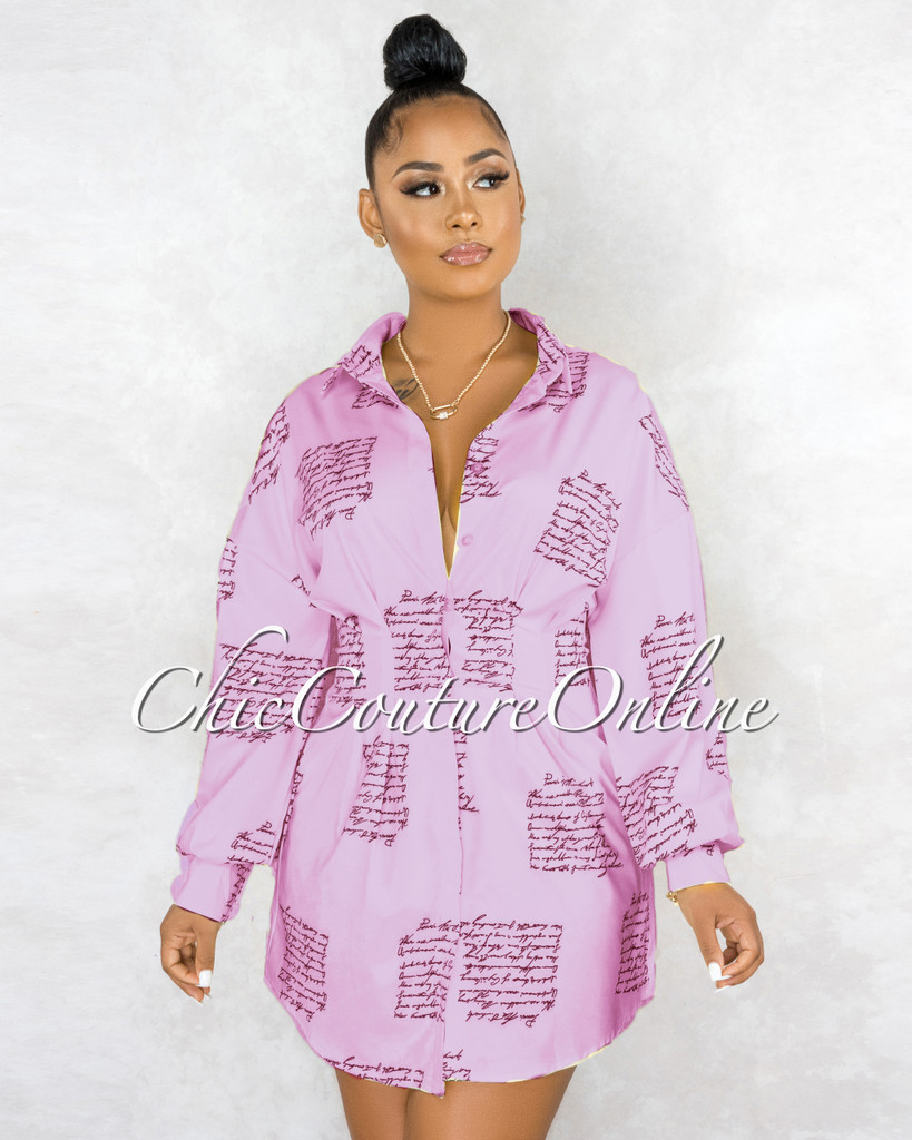 Canaima Lavender Black Handwriting Pleated Shirt Dress