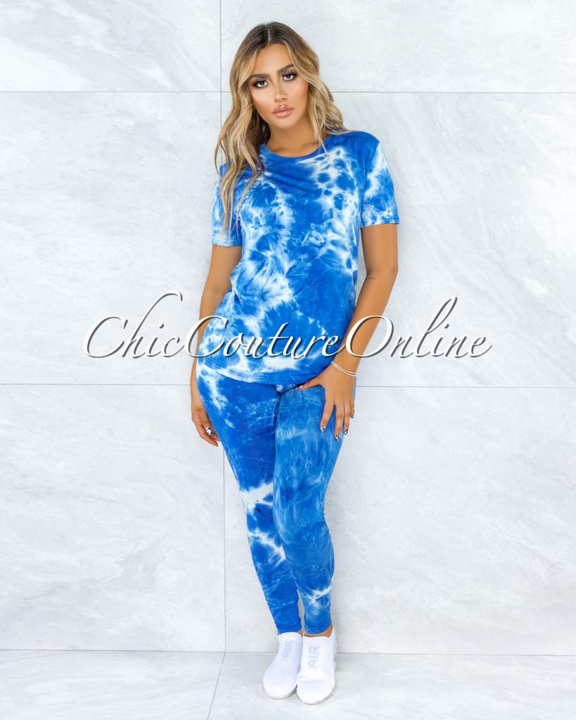 Dabit Deep Ocean Tie-Dye Shirt & Leggings Set