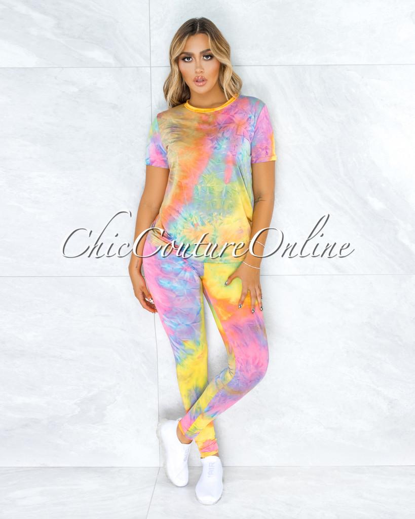 Dabit Rainbow Tie-Dye Shirt & Leggings Set