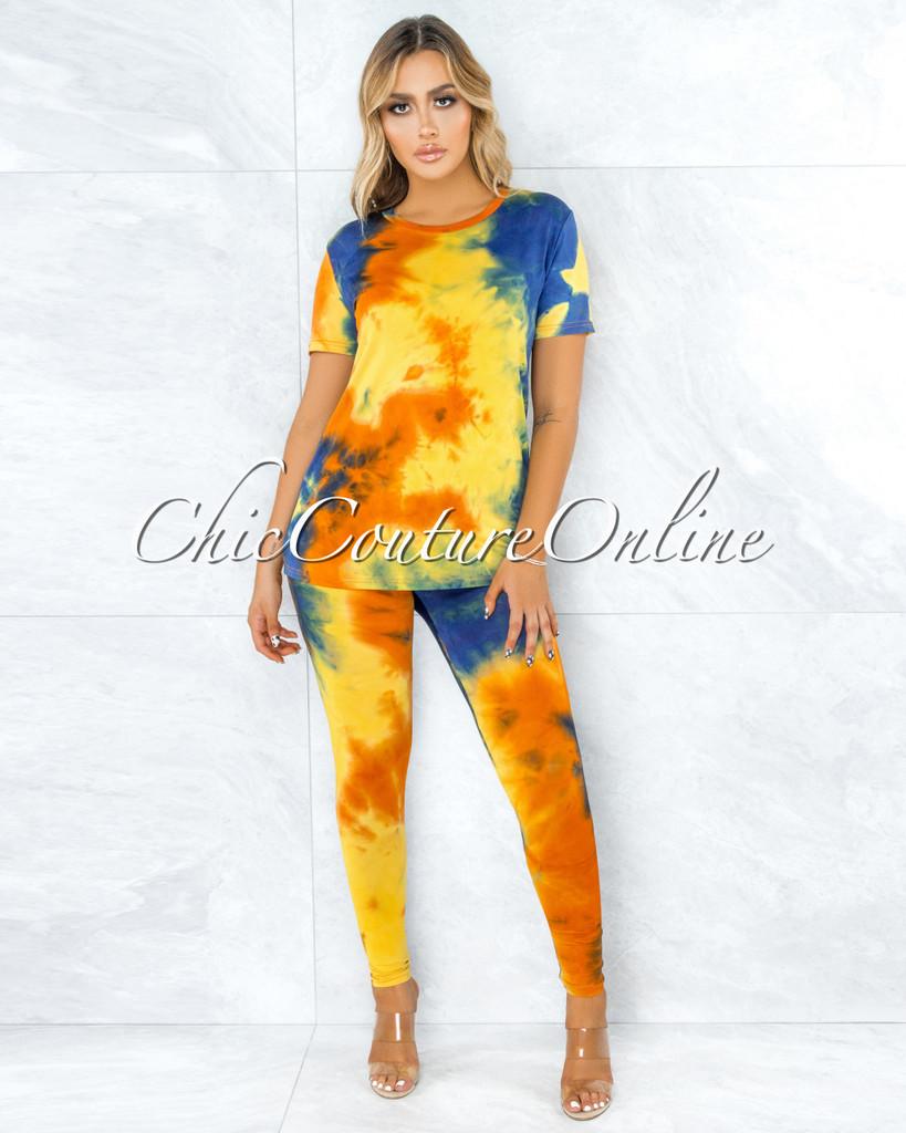Dabit Royal Blue Yellow Tie-Dye Shirt & Leggings Set