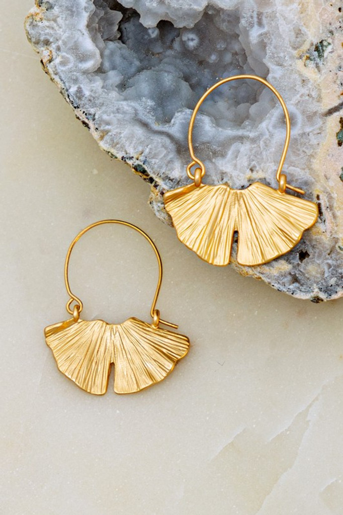 Jonah Gold Gingko Leaf Dangle Earrings