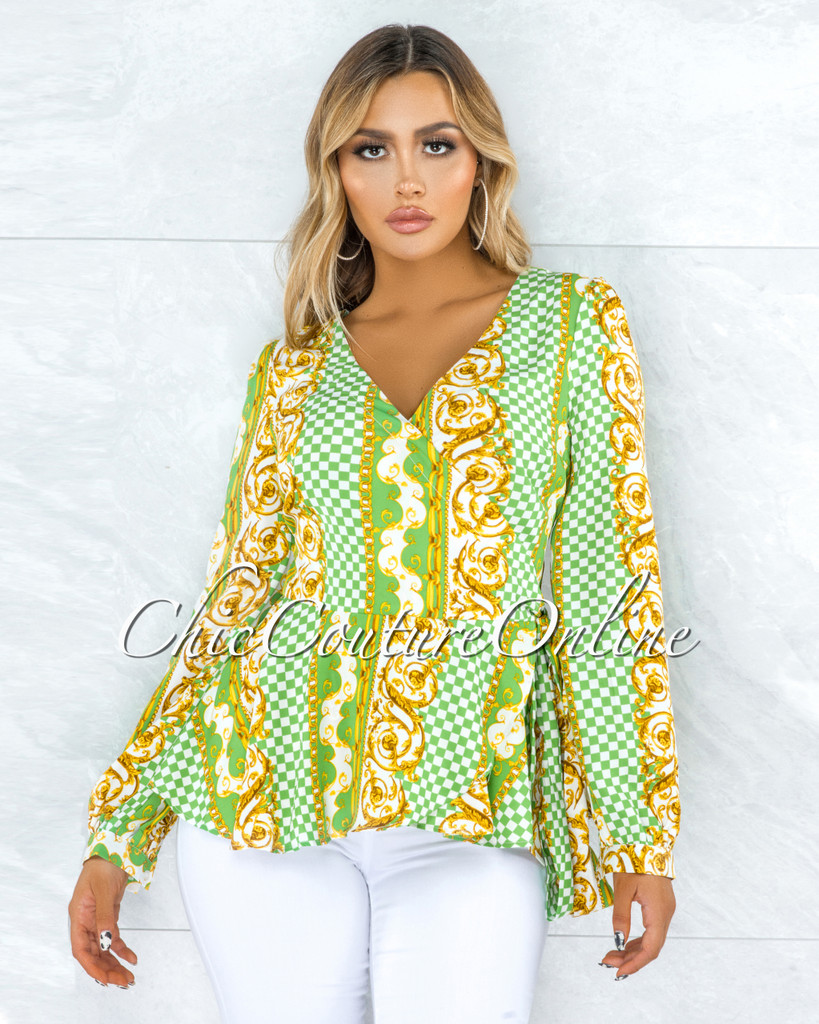 Marianie Green Multi-Color Print Wrap Blouse