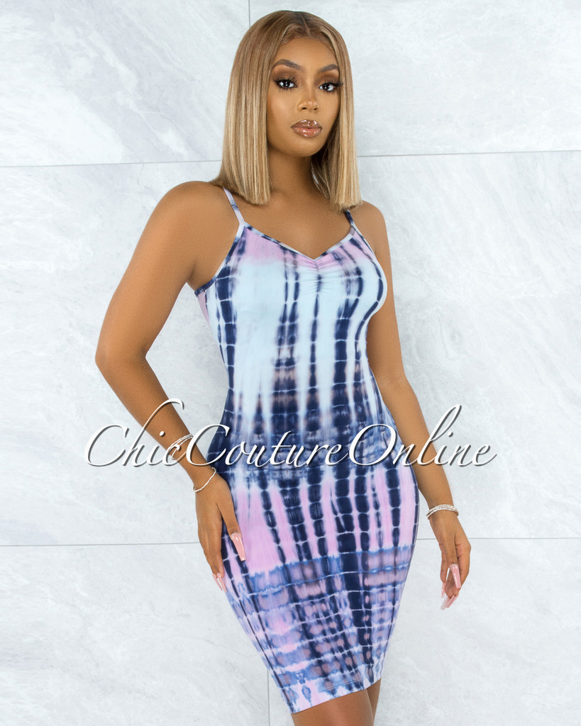 Charlotte Pink Blue Tie-Dye Ruched Top Dress