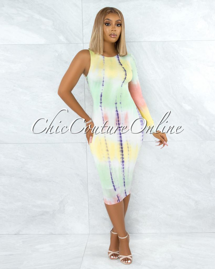 Geary Green Yellow Tie-Dye Single  Long Sleeve Back Lace-Up Dress