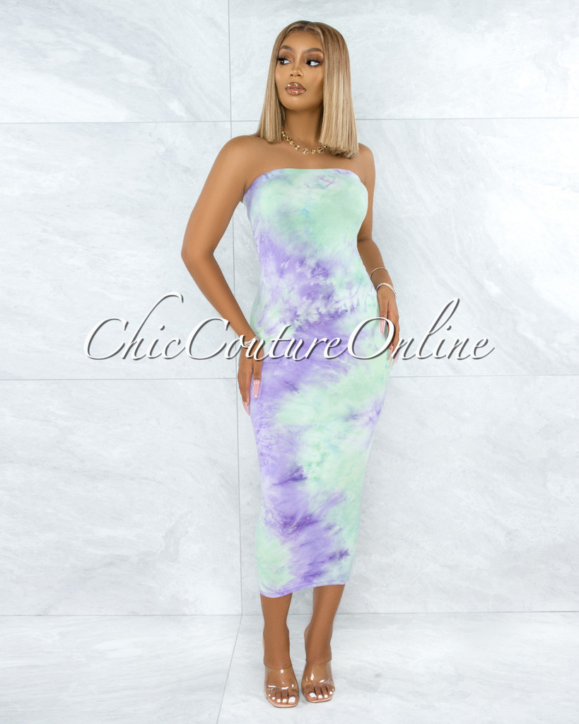 Jaffer Green Purple Tie-Dye Strapless Body-Con Dress