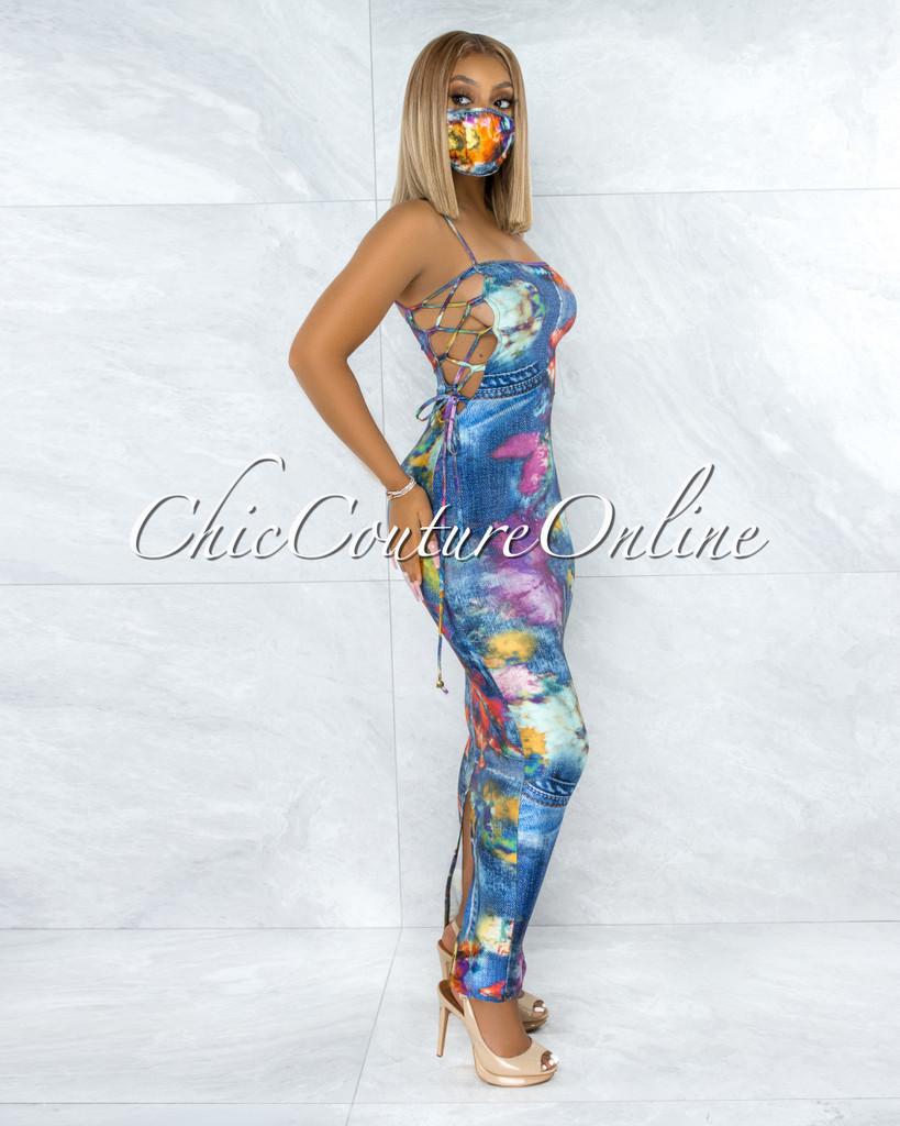 Ferrell Blue Multi-Color Denim Print Lace-Up Sides Dress & Mask