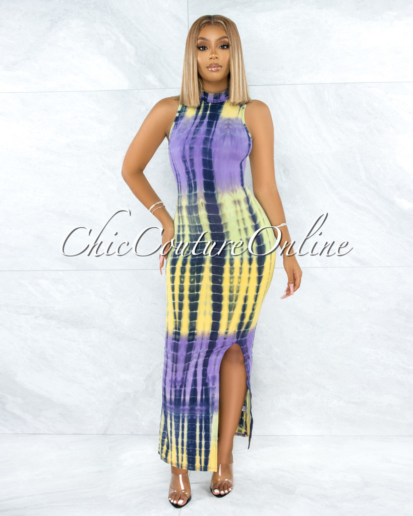 Priyah Purple Green Tie-Dye Body-Con High Neck Dress