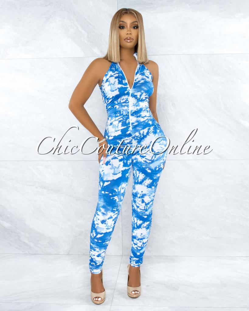 Tieve Blue White Tie-Dye Ruched Front Zipper Jumpsuit