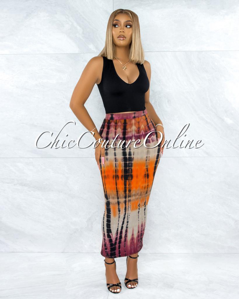 Natalan Black Orange Burgundy Tie-Dye Maxi Body-Con Skirt