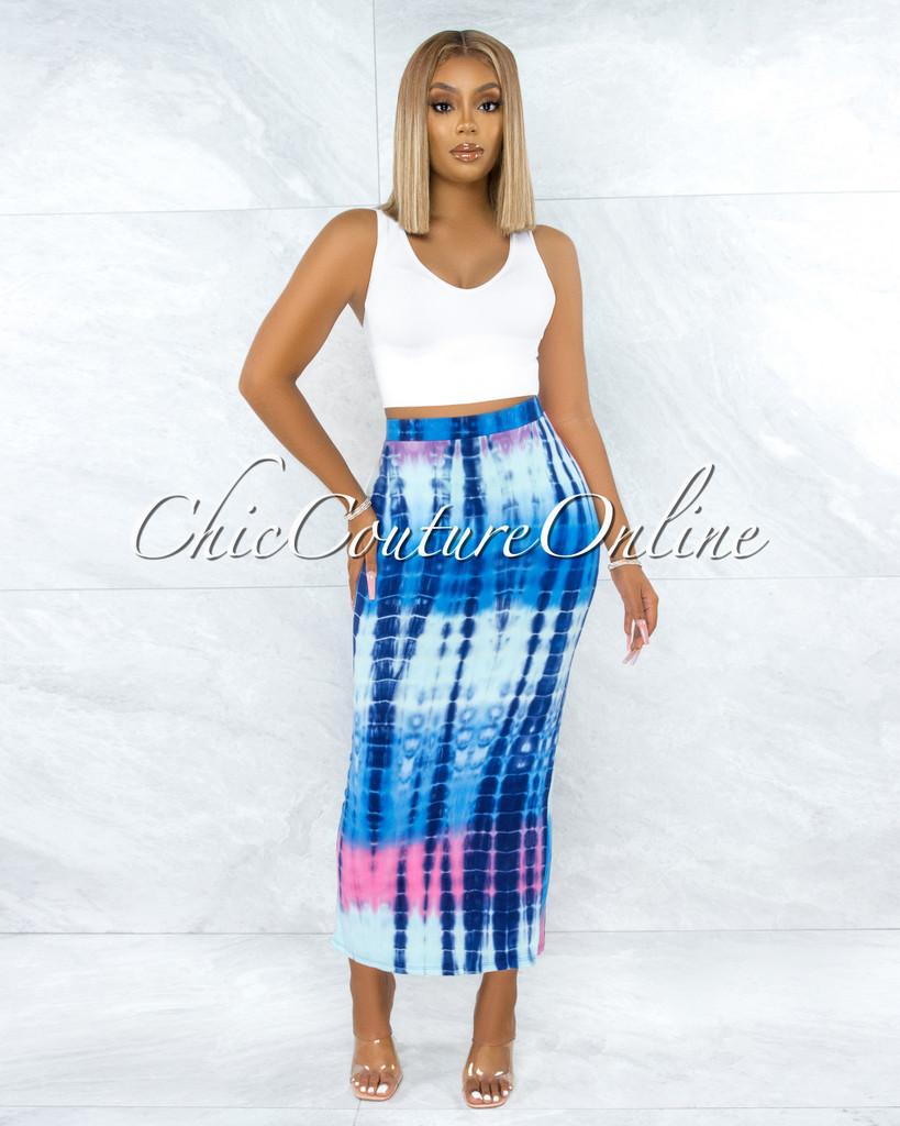 Natalan Blue Pink Tie-Dye Maxi Body-Con Skirt