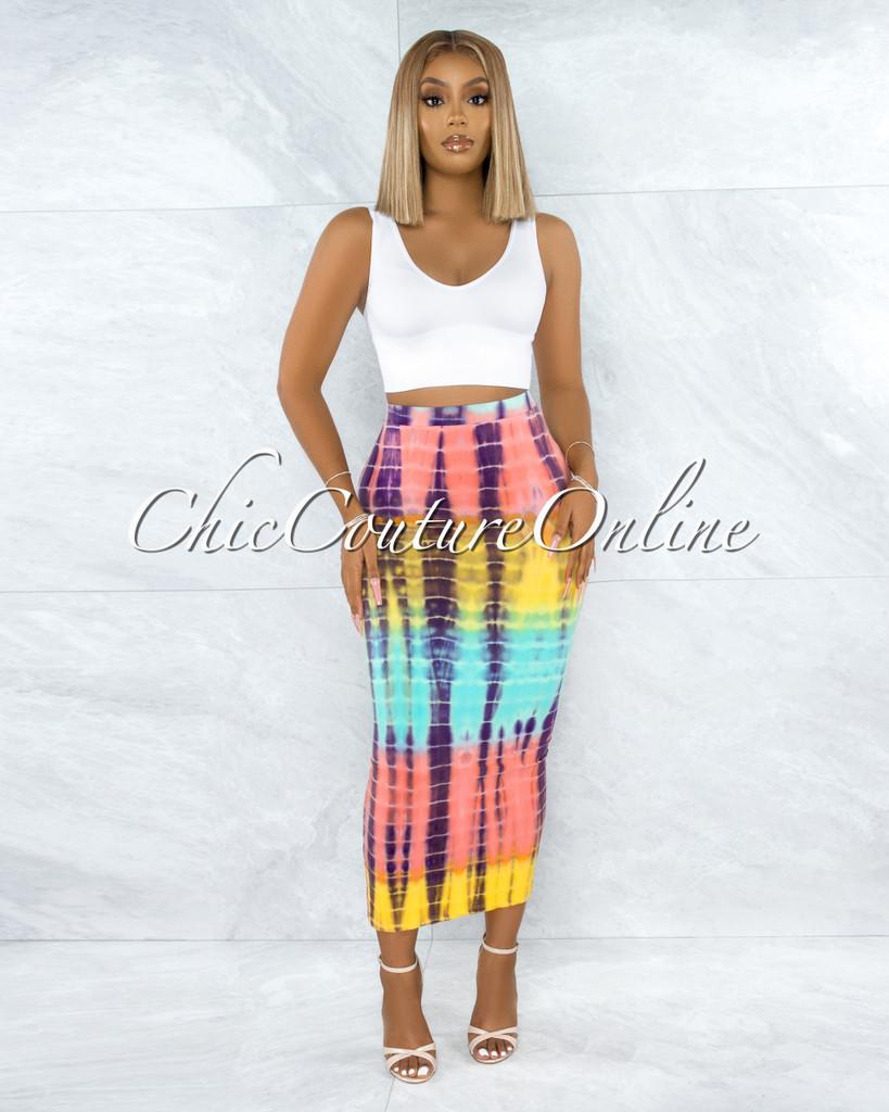 Natalan Yellow Mint Salmon Tie-Dye Maxi Body-Con Skirt