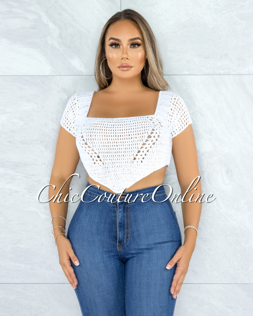 Sinobia White Crochet Luxe Knit Back Lace-Up Top