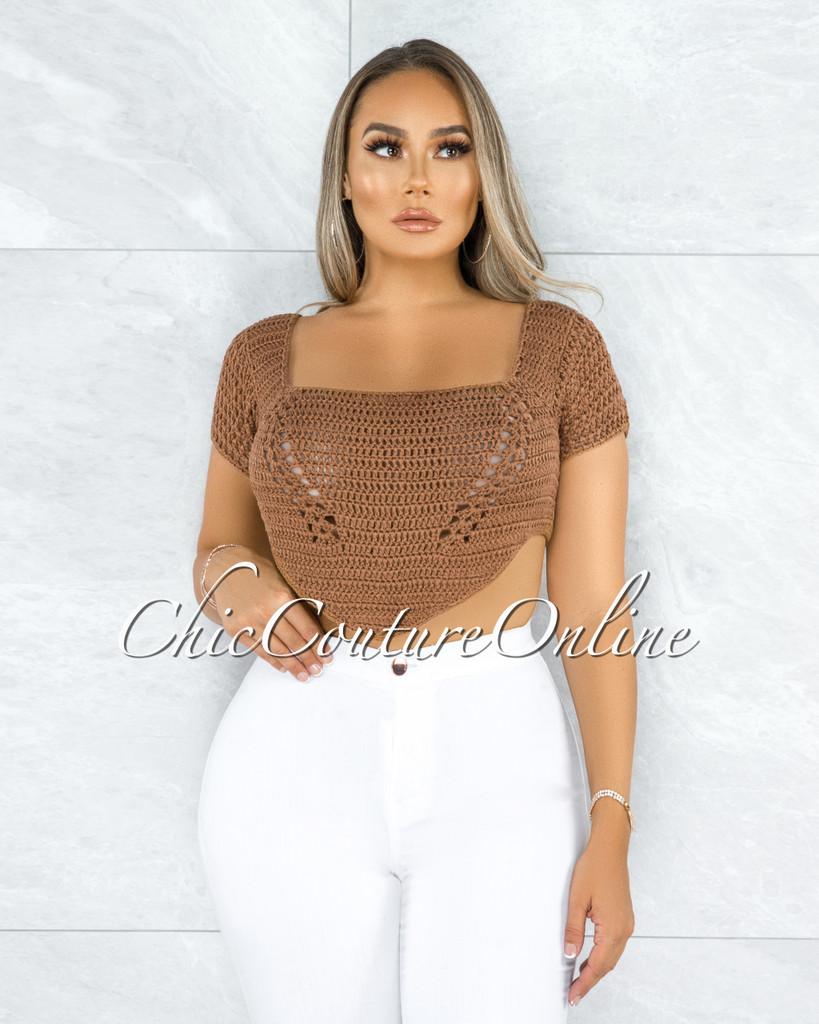 Sinobia Mocha Crochet Luxe Knit Back Lace-Up Top
