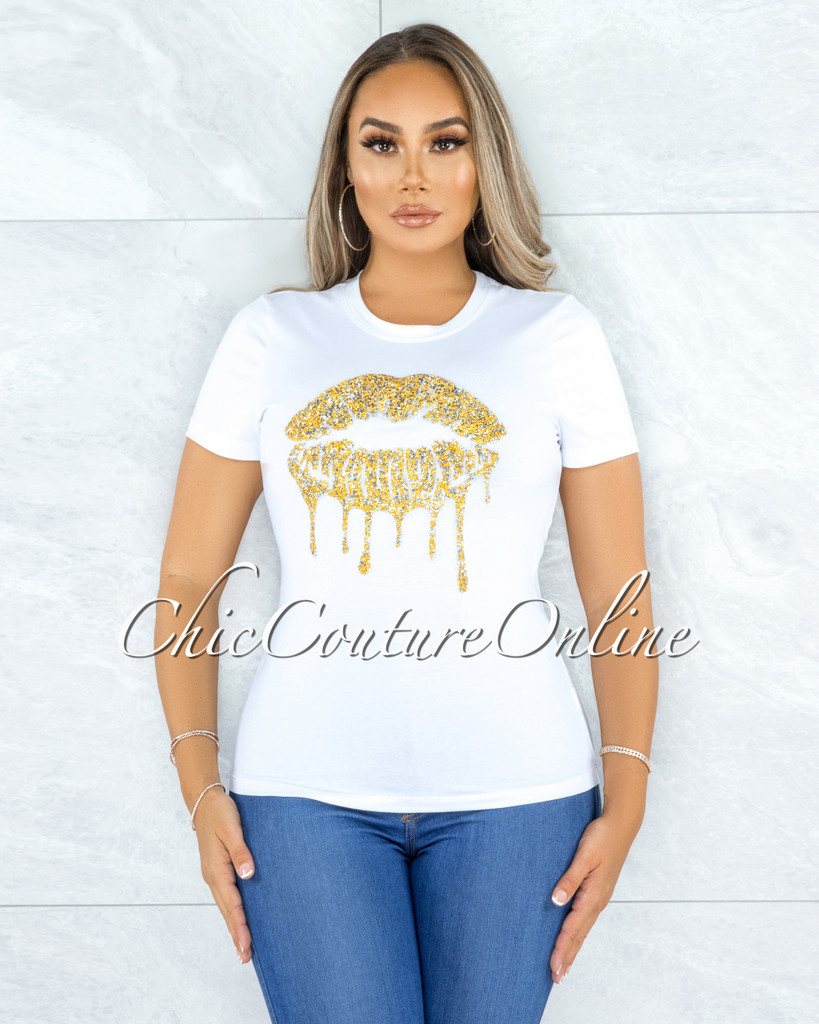 Fabrice Off-White Gold Rhinestones Lips Graphic T-Shirt