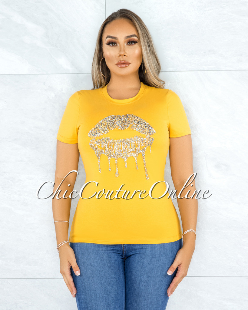 Fabrice Yellow Gold Rhinestones Lips Graphic T-Shirt