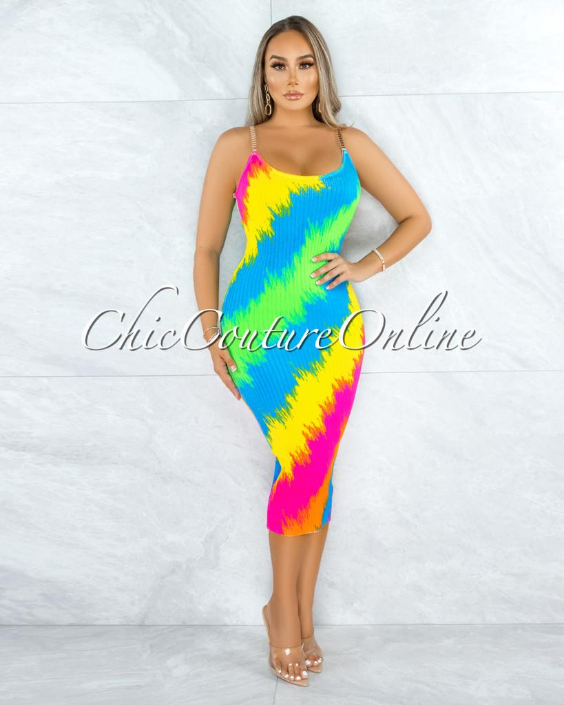 Quinta Rainbow Neon Print Gold Link Straps CURVACEOUS Dress