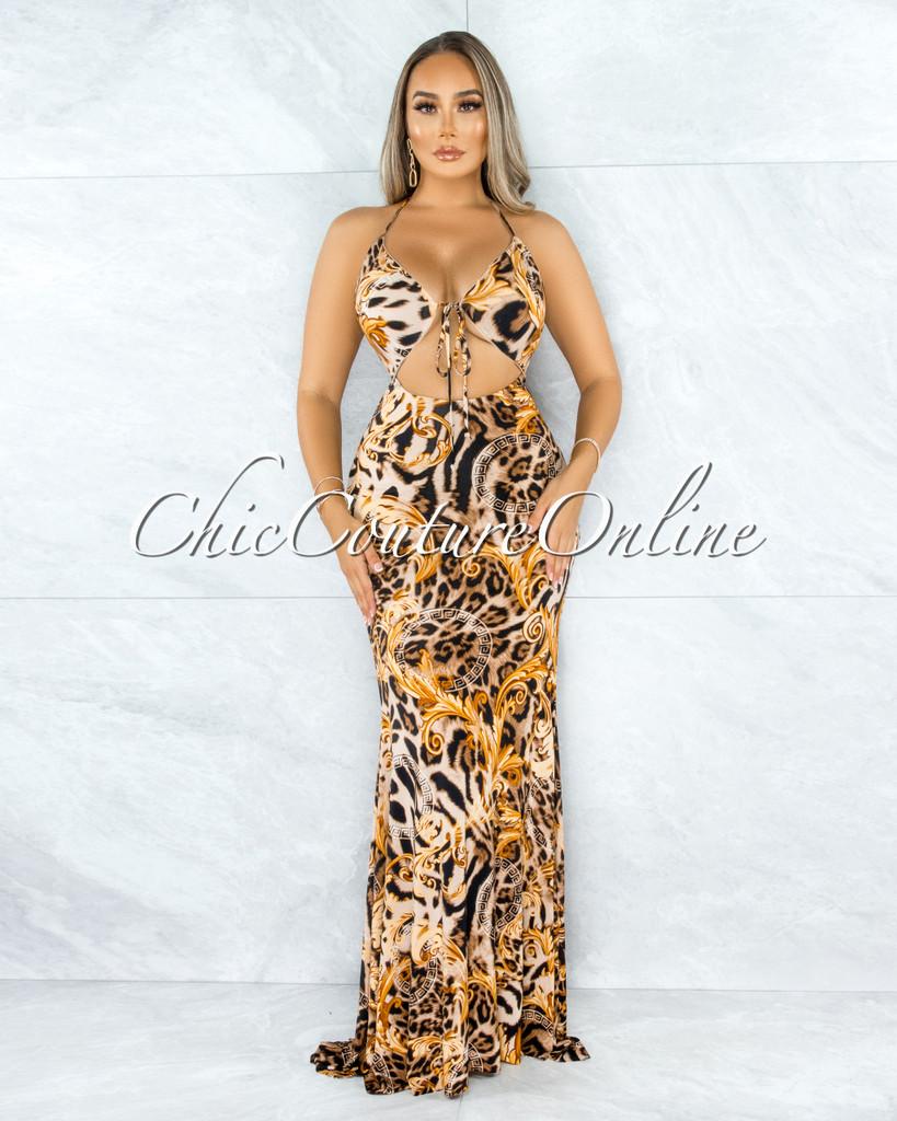 Gardelle Brown Leopard Print Front Cut-Out Maxi Dress