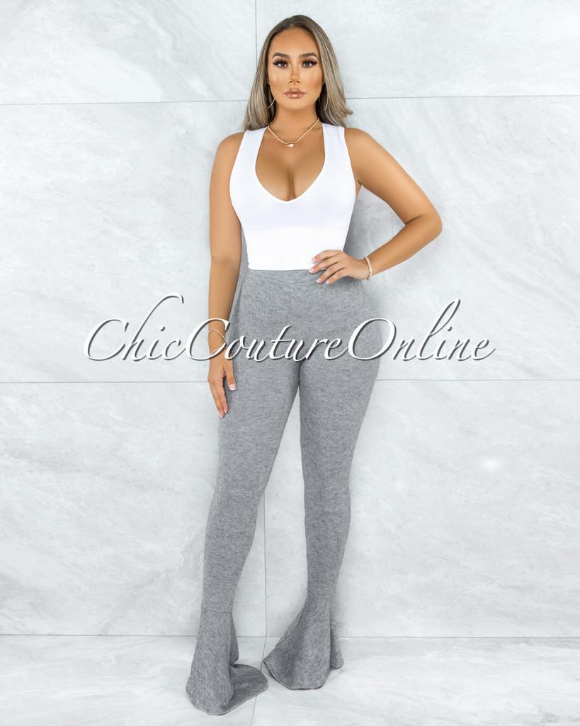 Simoni Grey Knit Bell Flutter Legs Pants
