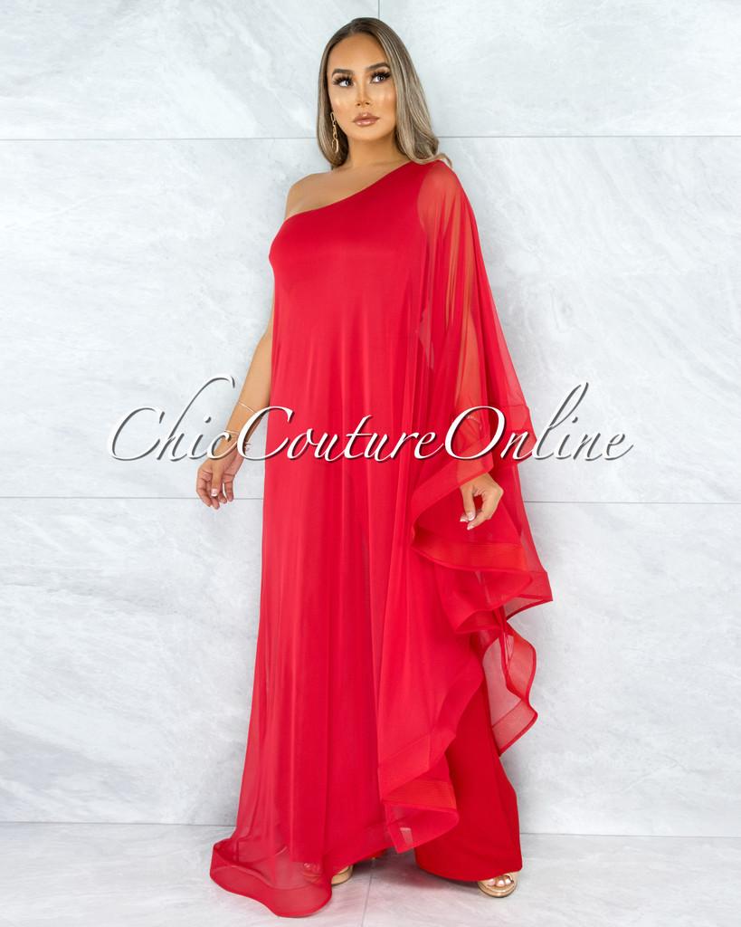 Kapila Red Dramatic Single Sleeve Tunic Jumpsuit