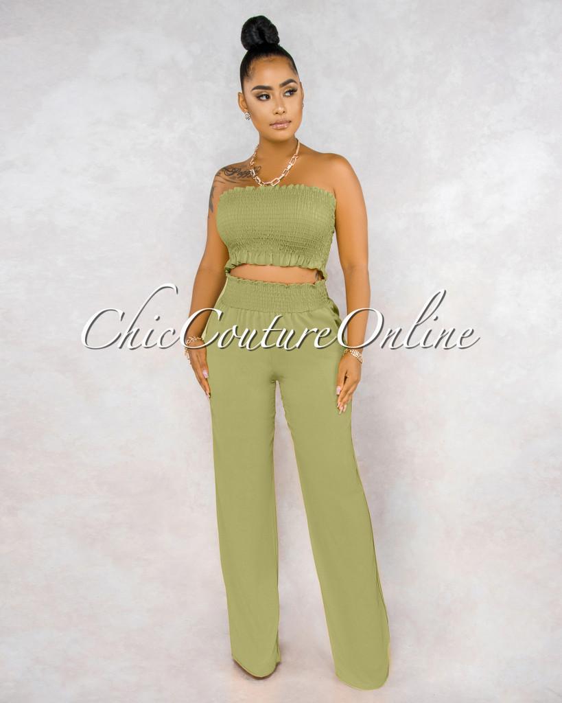 Jordany Light Olive Smocked Top Pants Set