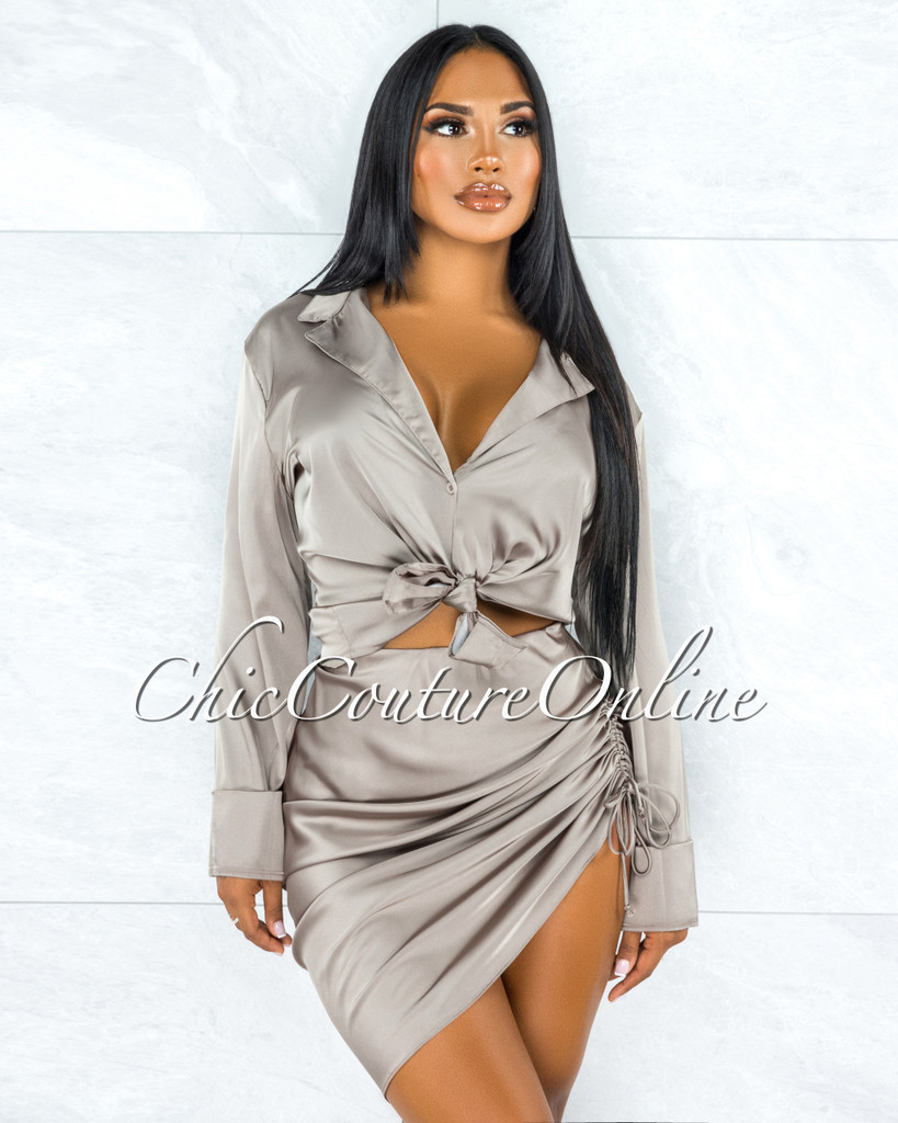 Cherlyn Light Olive Ruched Skirt Satin Set