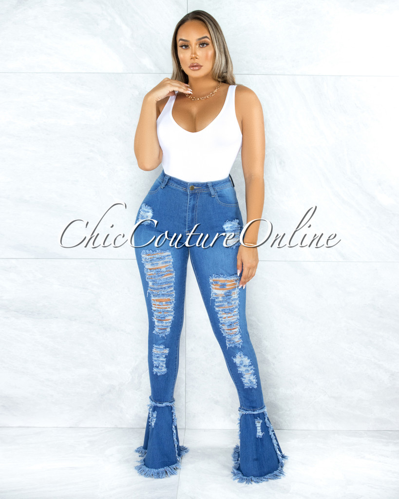 Colter Blue Denim Destroyed Bell Legs Jeans