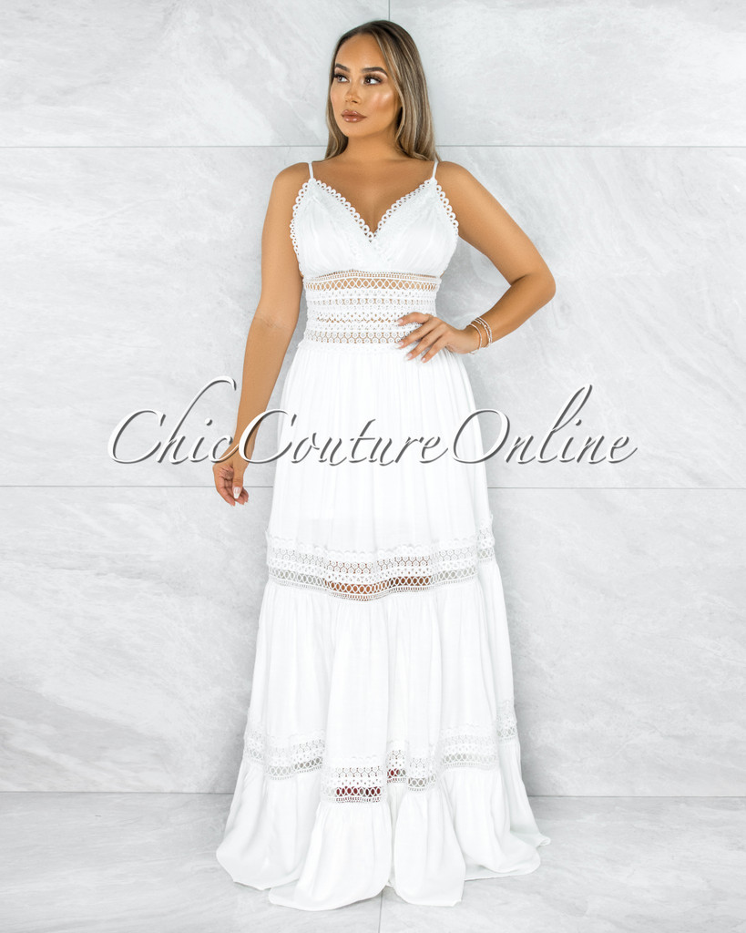 Bestie Off-White Crochet See-Through Waist Maxi Dress