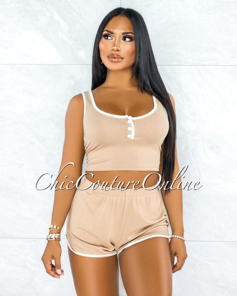 Capella Nude White Trim Ribbed Mini Shorts Set