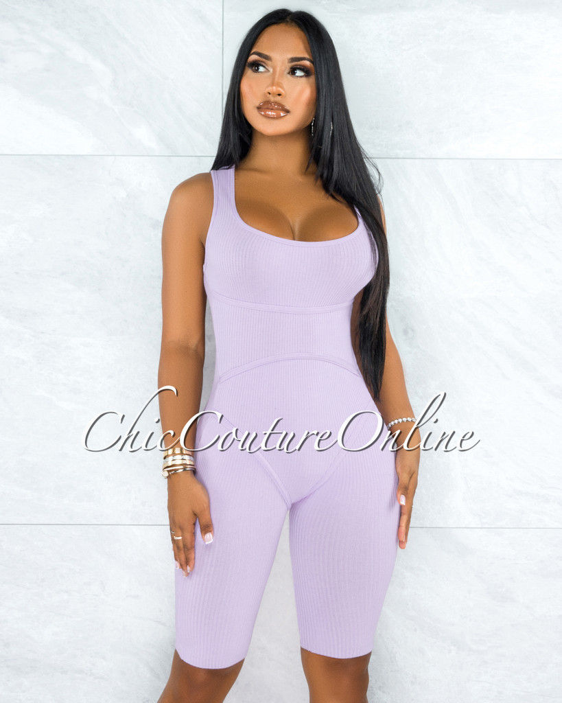 Alvita Purple Ribbed Trim Round Neck Romper