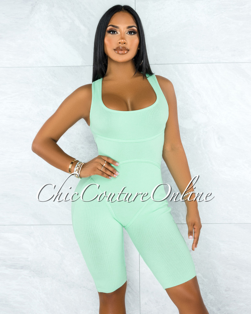 Alvita Mint Ribbed Trim Round Neck Romper