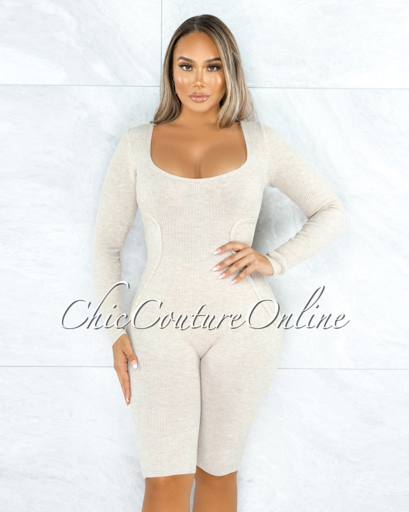 Yedda Beige Ribbed Trim Long Sleeves Romper