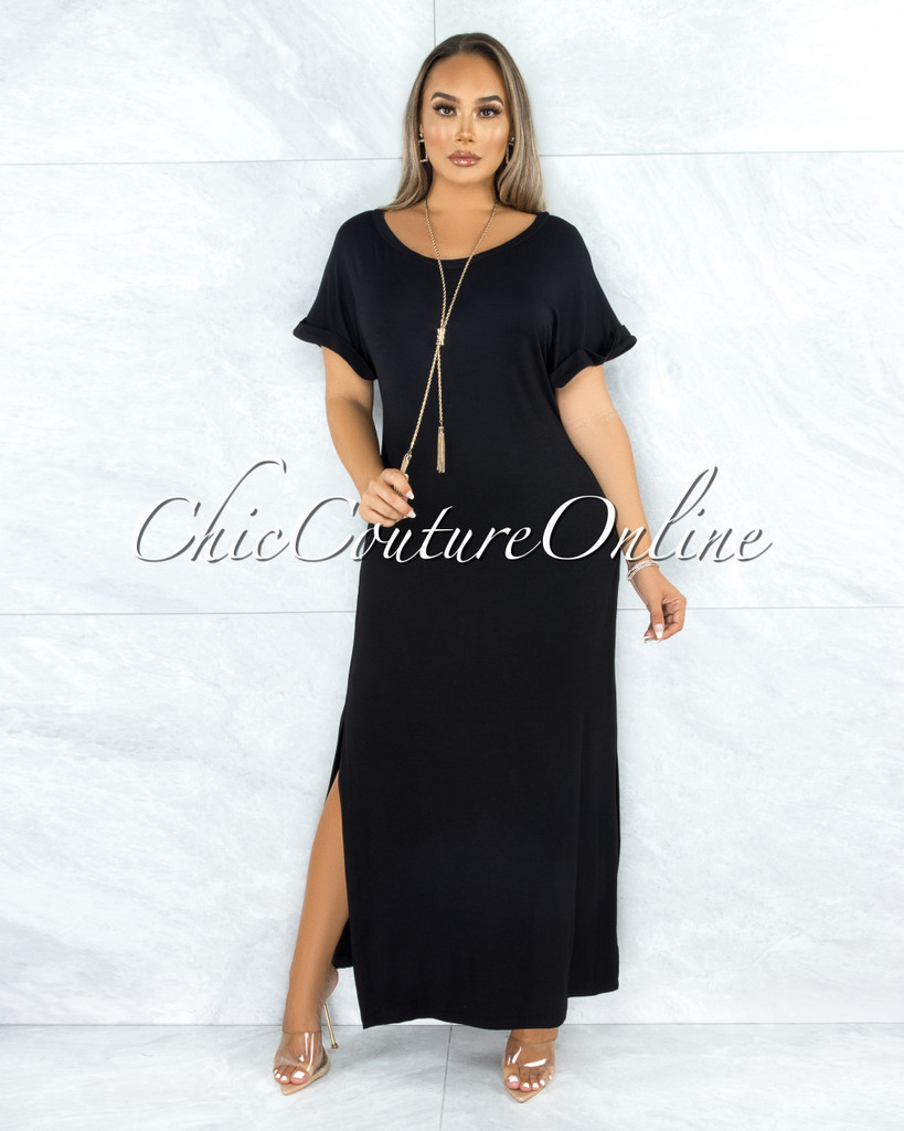 Corday Black Side Slits Shirt Dress
