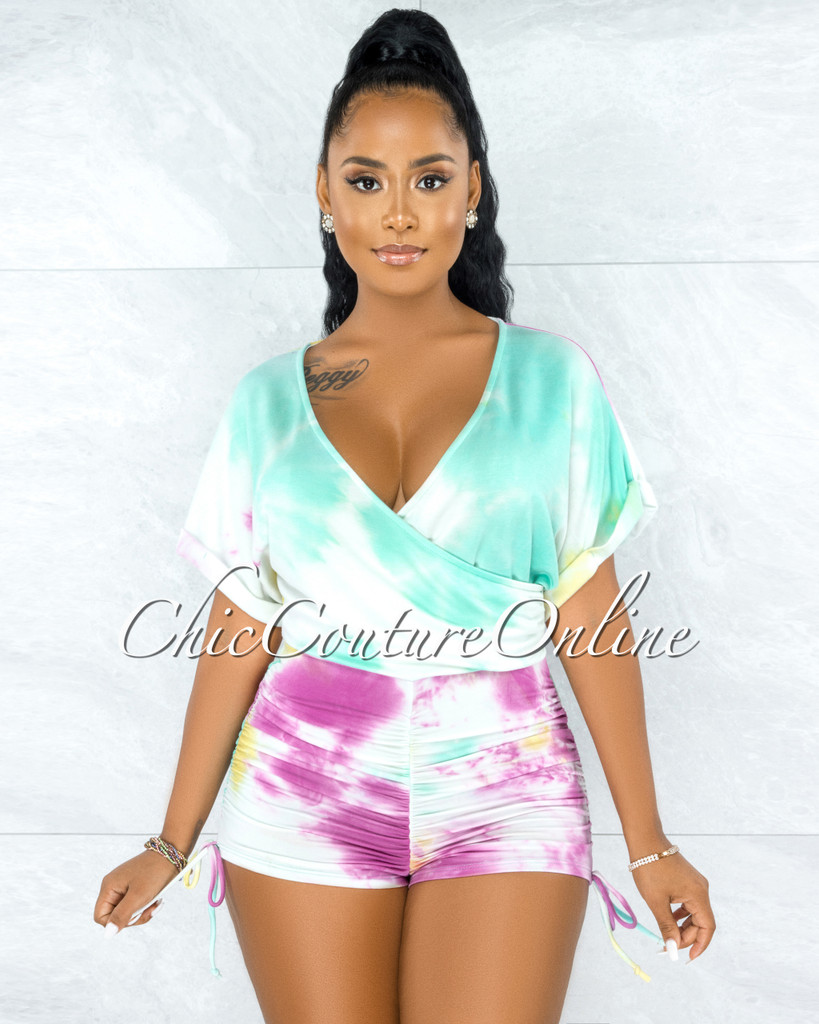 Guerra White Multi Tie-Dye Ruched Lace-Up Romper