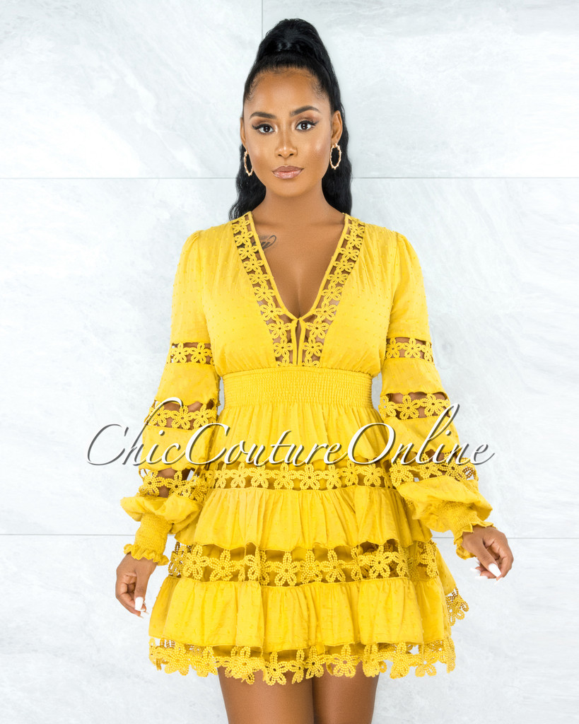 Narmada Mustard See-Through Crochet Skater Dress