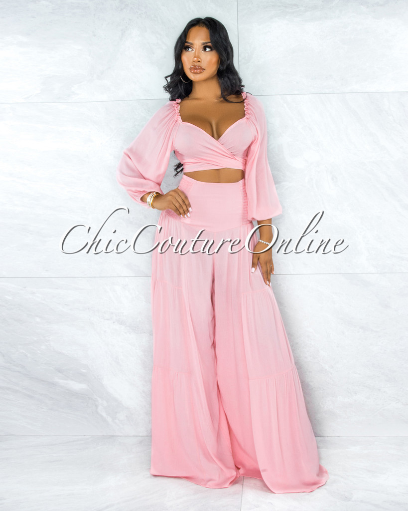 Faddis Pink Front Tie Top Pants Ruffle Set w Mask