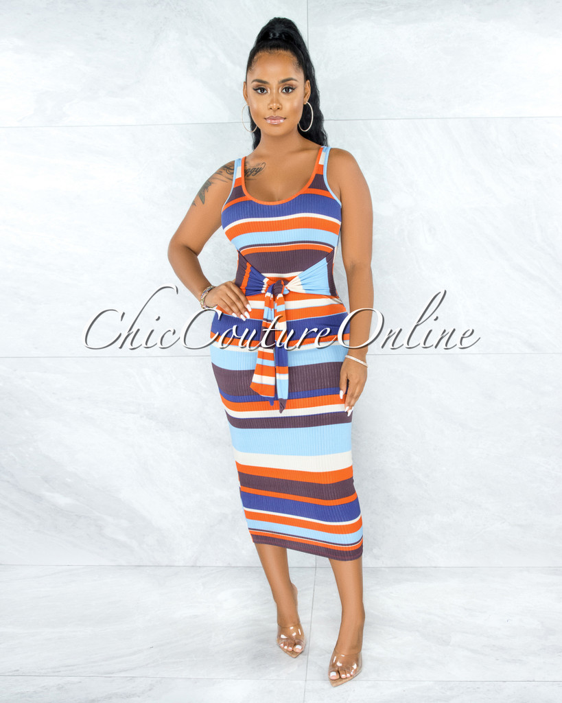 Tandie Blue Brown Stripes Ribbed Front Tie Maxi CURVACEOUS Dress