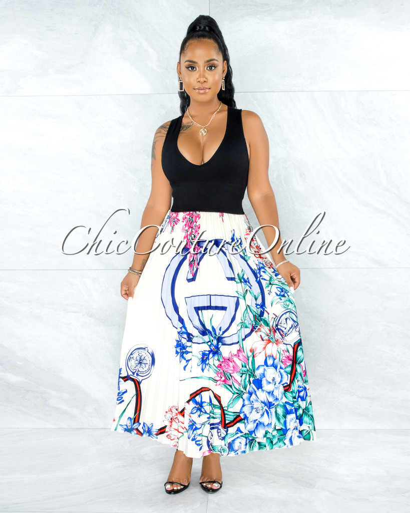 Hagar Ivory Floral Print Pleated Maxi Skirt