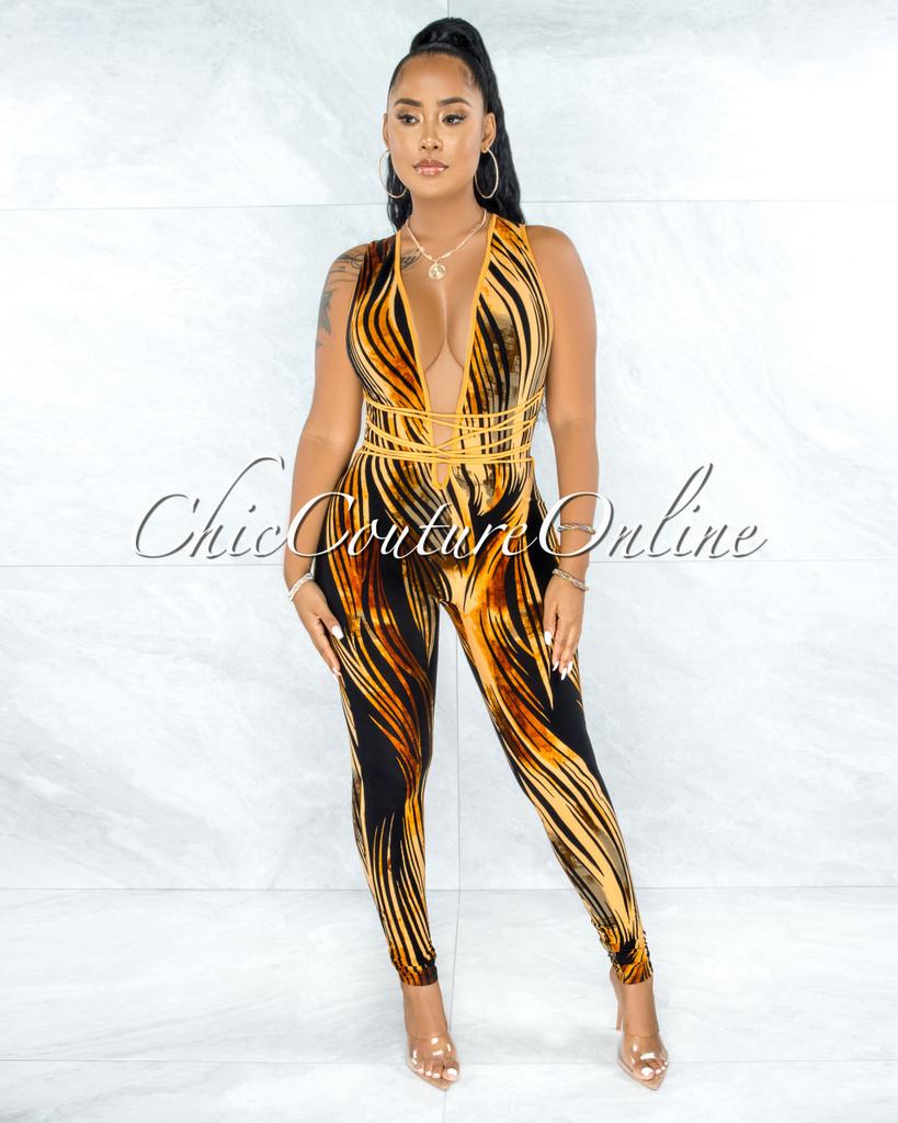 Durdana Mustard Black Print Deep V Lace-Up Jumpsuit