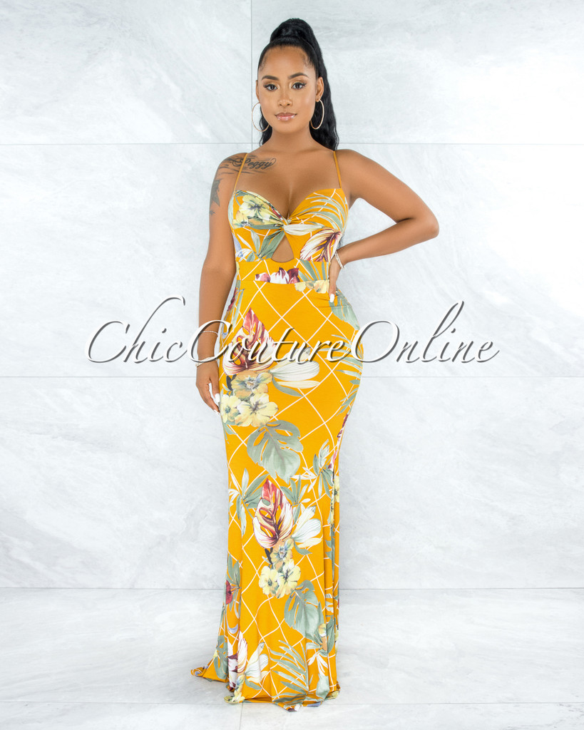 Hewney Mustard Multi Print Front Knot Cut-Out Maxi Dress