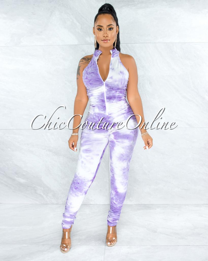 Clio Purple White Tie-Dye Ruched Front Zipper Jumpsuit