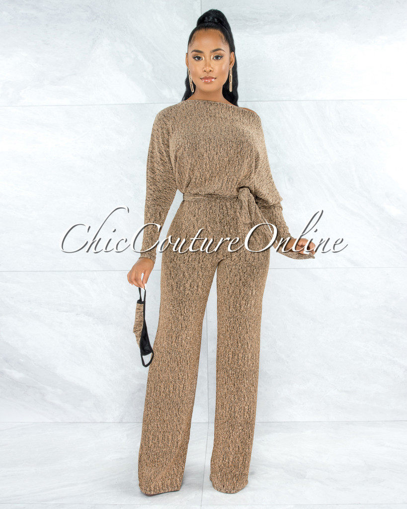 Bakura Gold Shimmer Texture Self-Tie Belt Jumpsuit w Mask