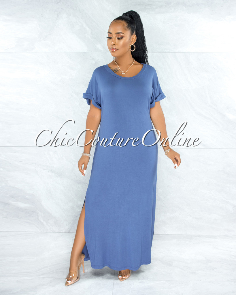 Corday Slate Blue Side Slits Shirt Dress