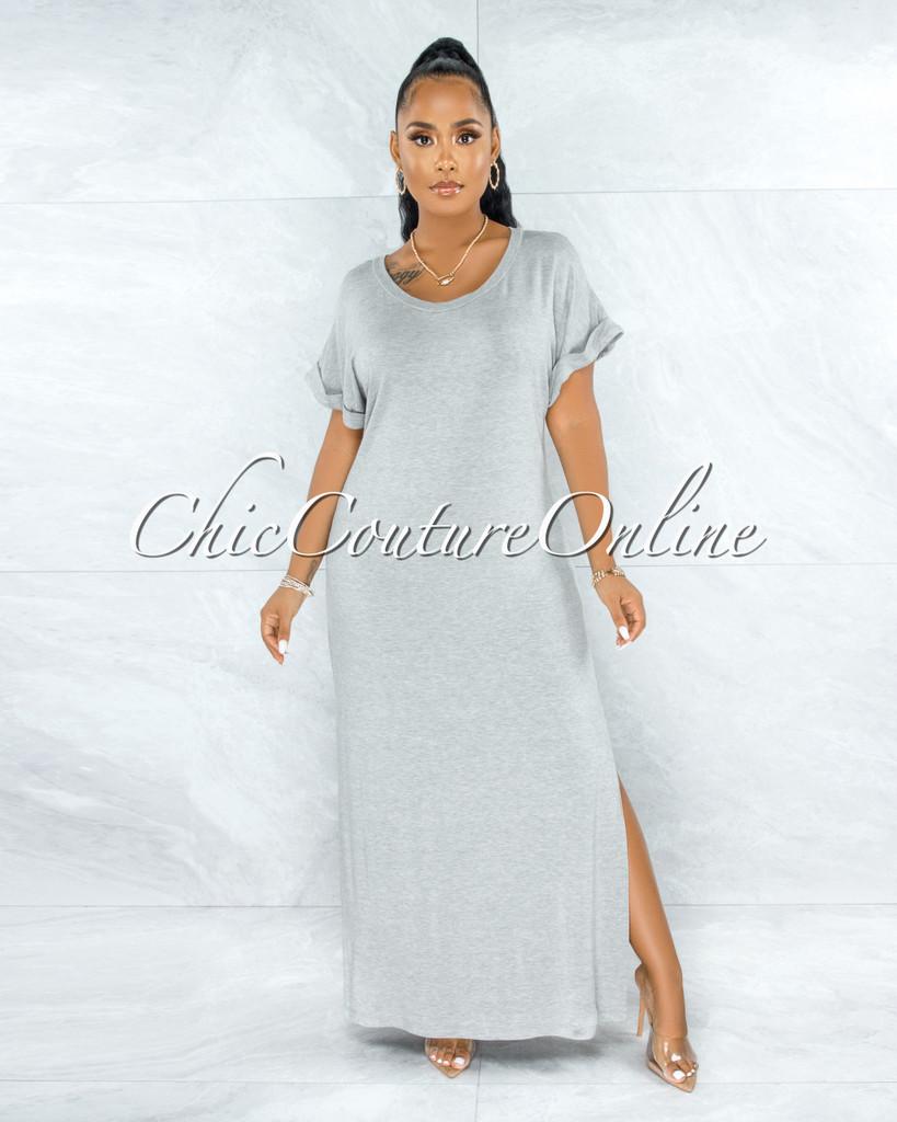 Corday Harbor Grey Side Slits Shirt Dress
