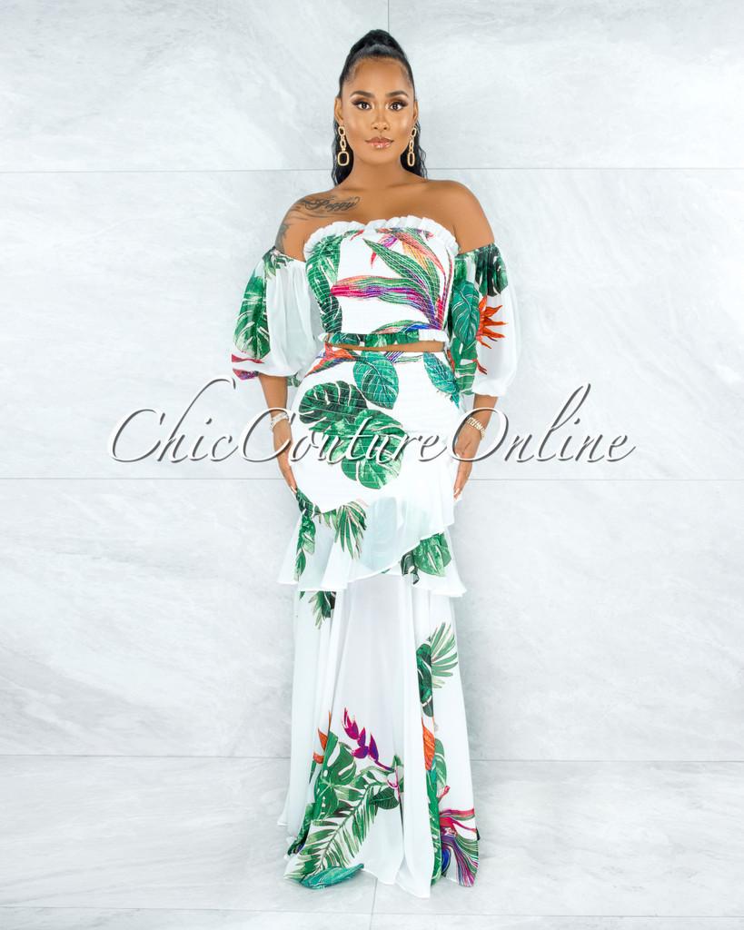 Bianca White Green Leaf Print Smocked Top & Maxi Skirt Set