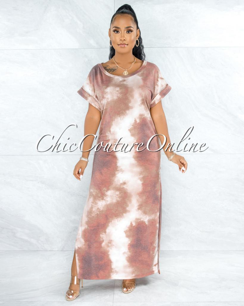 Alhena Brown Rust Tie-Dye Side Slits Shirt Dress