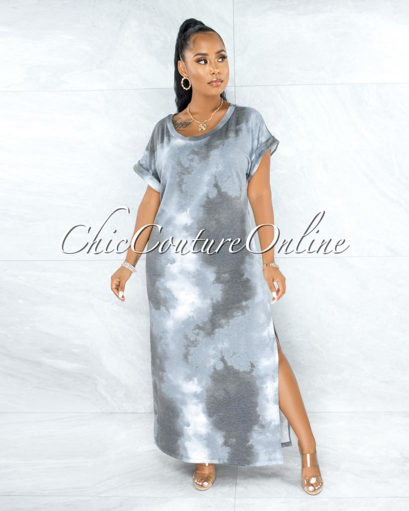 Alhena Blue Grey Tie-Dye Side Slits Shirt Dress