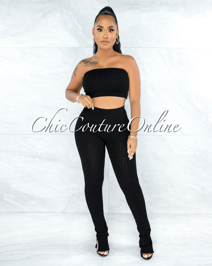 Trinidad Black Cable Knit Crop Top Slit Leggings Set