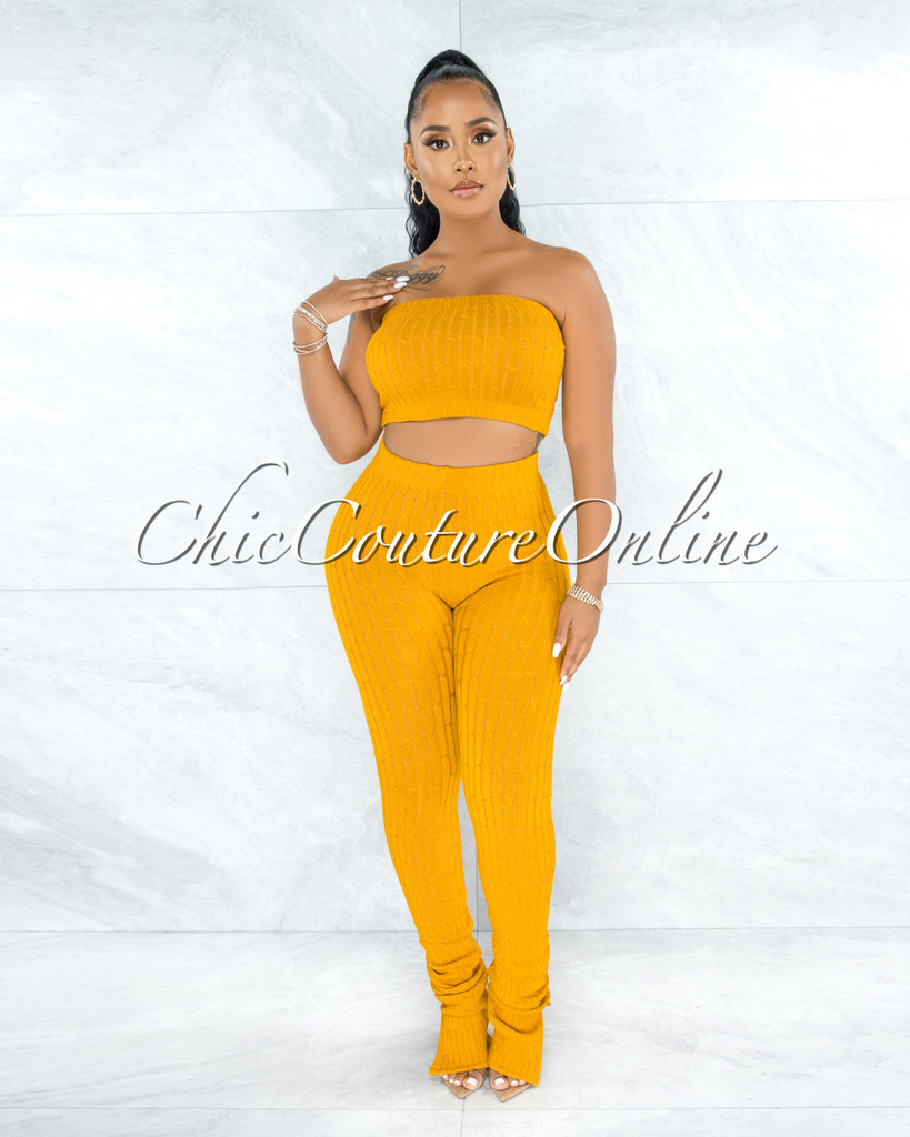 Trinidad Mustard Cable Knit Crop Top Slit Leggings Set