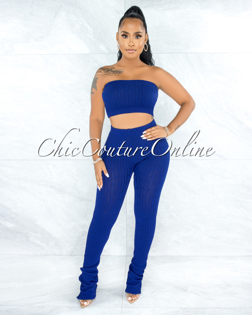 Trinidad Royal Blue Cable Knit Crop Top Slit Leggings Set