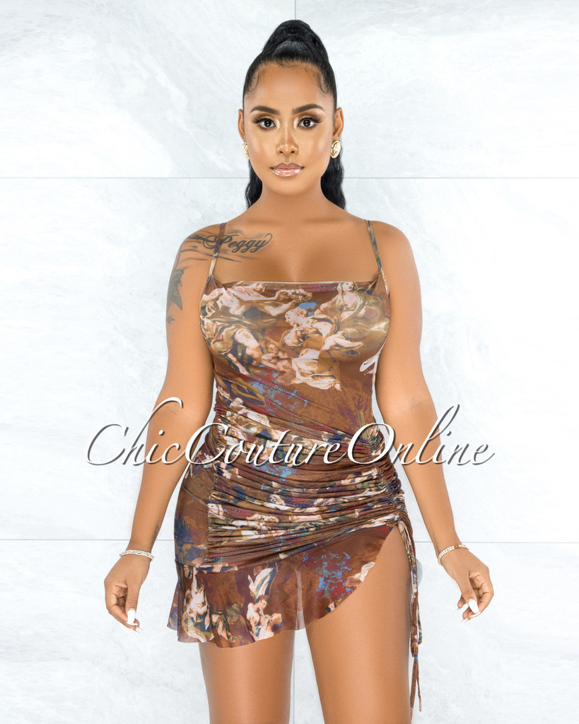 Chalina Brown Floral Print Ruched Sheer Mesh Dress